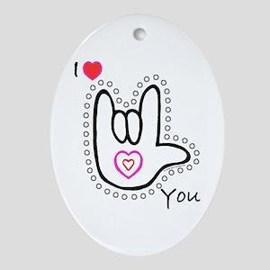 B/W Bold I-Love-You Oval Ornament