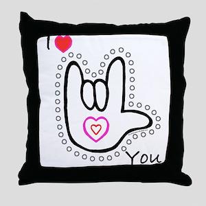 B/W Bold I-Love-You Throw Pillow