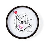 B/W Bold I-Love-You Wall Clock