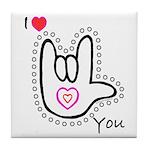 B/W Bold I-Love-You Tile Coaster