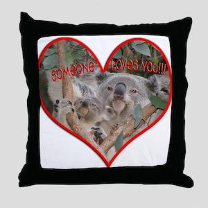 Helaine's Koala Valentine Throw Pillow