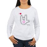 B/W Bold I-Love-You Women's Long Sleeve T-Shirt