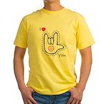 B/W Bold I-Love-You Yellow T-Shirt