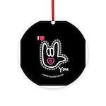 B/W Bold I-Love-You Black Ornament (Round)