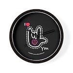 B/W Bold I-Love-You Black Wall Clock