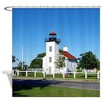 Sand Point Lighthouse Shower Curtain