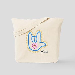Blue Bold I-Love-You Tote Bag