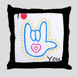 Blue Bold I-Love-You Throw Pillow
