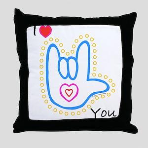 Blue Bold I-Love-You Throw Pillow