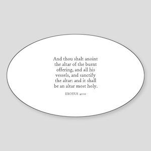 EXODUS 40:10 Oval Sticker