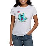 Aqua Bold I-Love-You Women's T-Shirt