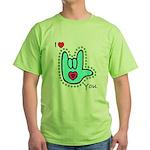 Aqua Bold I-Love-You Green T-Shirt