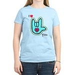Aqua Bold I-Love-You Women's Light T-Shirt