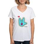 Aqua Bold I-Love-You Women's V-Neck T-Shirt