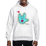 Aqua Bold I-Love-You Hooded Sweatshirt