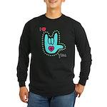 Aqua Bold I-Love-You Long Sleeve Dark T-Shirt