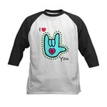 Aqua Bold I-Love-You Kids Baseball Jersey