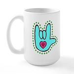 Aqua Bold I-Love-You Large Mug