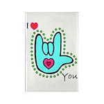 Aqua Bold I-Love-You Rectangle Magnet