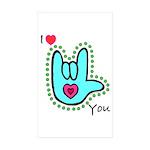 Aqua Bold I-Love-You Rectangle Sticker 50 pk)