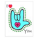 Aqua Bold I-Love-You Small Poster