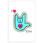 Aqua Bold I-Love-You Large Poster