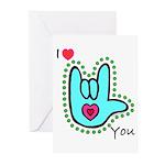 Aqua Bold I-Love-You Greeting Cards (Pk of 10)