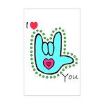 Aqua Bold I-Love-You Mini Poster Print