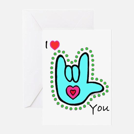 Aqua Bold I-Love-You Greeting Card