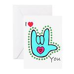 Aqua Bold I-Love-You Greeting Cards (Pk of 20)