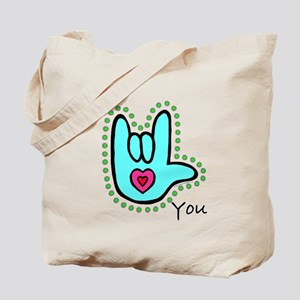 Aqua Bold I-Love-You Tote Bag