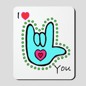 Aqua Bold I-Love-You Mousepad