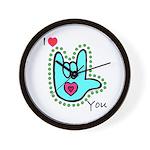 Aqua Bold I-Love-You Wall Clock