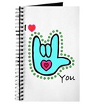 Aqua Bold I-Love-You Journal