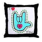Aqua Bold I-Love-You Throw Pillow