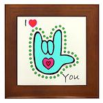 Aqua Bold I-Love-You Framed Tile