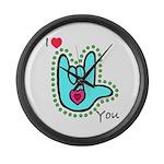 Aqua Bold I-Love-You Large Wall Clock