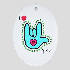 Aqua Bold I-Love-You Oval Ornament
