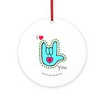 Aqua Bold I-Love-You Ornament (Round)