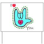 Aqua Bold I-Love-You Yard Sign