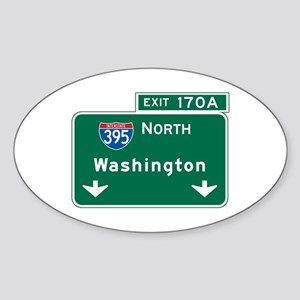 Washington, DC Highway Sign Oval Sticker
