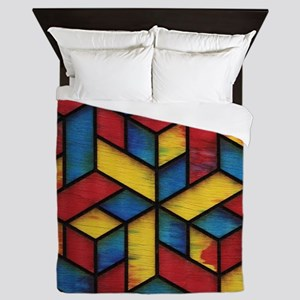 Colorful Cubes Queen Duvet