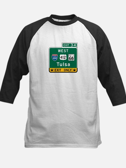 Tulsa, OK Highway Sign Kids Baseball Jersey