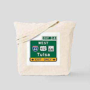 Tulsa, OK Highway Sign Tote Bag