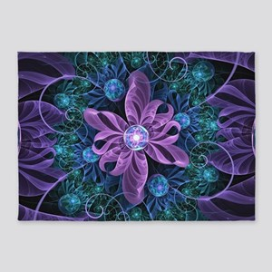 A Bejeweled Butterfly Lily of Ultra 5'x7'Area Rug