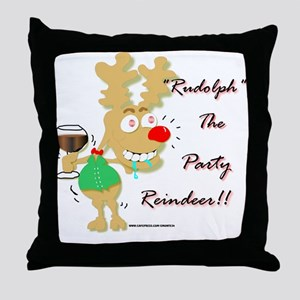 Sloshed Rudolph Throw Pillow