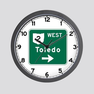 Toledo, OH Highway Sign Wall Clock