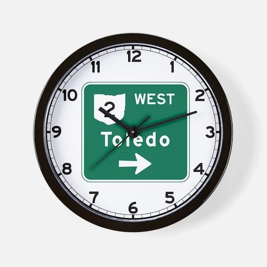 Toledo, OH Highway Sign Wall Clock