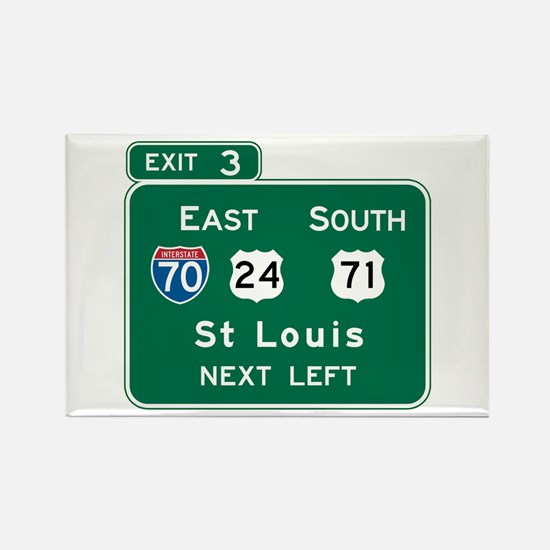 St. Louis, MO Highway Sign Rectangle Magnet (10 pa