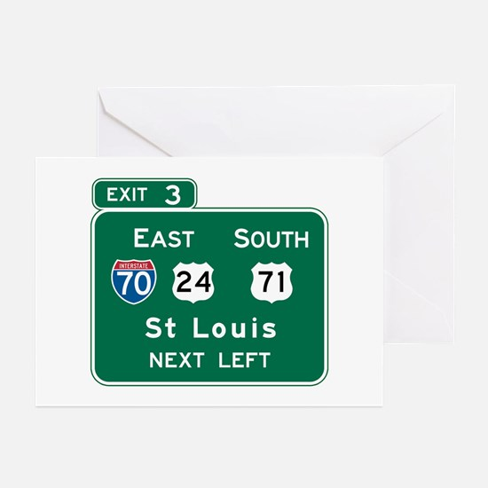 St. Louis, MO Highway Sign Greeting Cards (Pk of 1